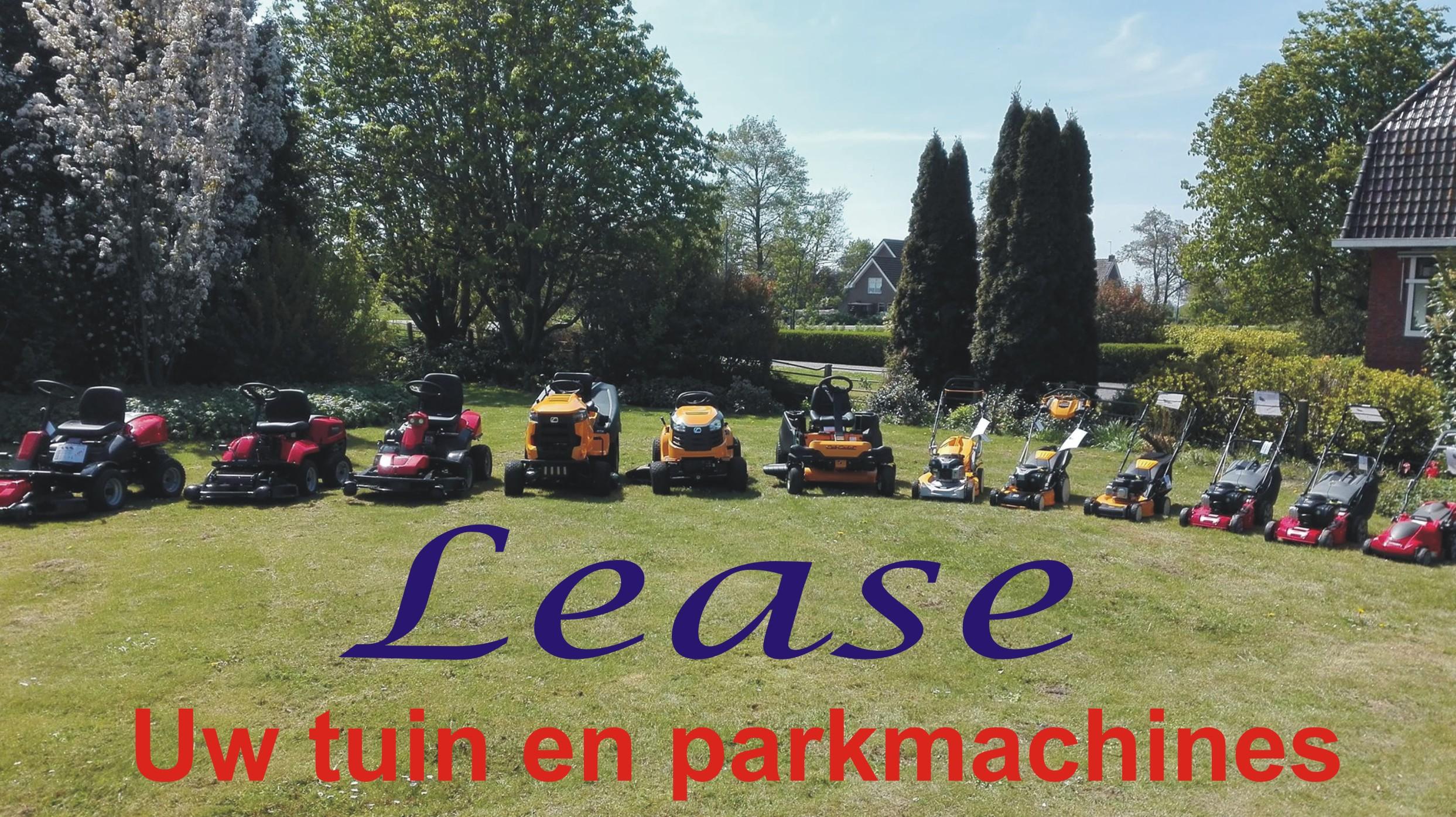 leasen van tuinmachines en parkmachines  is ook mogelijk